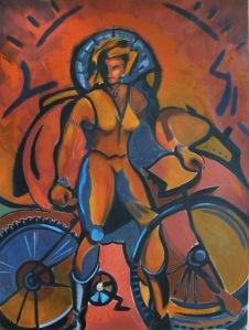 Female Astride Bike