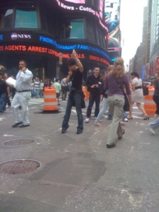 And a guy doing some sort of crazy man Tai Chi in the crosswalk